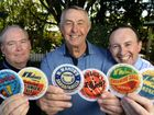 Artist Andrew Spark, Ipswich Hospice Chairman Peter McMahon and Ipswich Hospice general manager Paul Brew show off the McMahon's coasters that are on sale to raise funds for Ipswich Hospice.