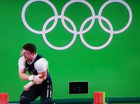 Aremenian weightlifter Andranik Karapetyan in the seconds after he snapped his arm at the Rio 2016 Olympics. (PICTURE IS SCREENSHOT DO NOT REUSE_