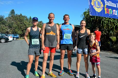 WINNERS: From left, Pip Taylor (10km), Glen Curtis (5km), Tony Curtis (10km) and Cara Brisbane (5km) and her son.