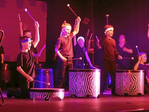 MAKING A BIG NOISE: Class 4JD show off their African drumming skills during the Grafton Public School Gala Concert at the Saraton Theatre.