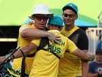 RIO DE JANEIRO, BRAZIL - AUGUST 06:  (L-R) Ryan Tyack, Taylor Worth and Alec Potts of Australia celebrate beating China during the Men's Team Third Place match on Day 1 of the Rio 2016 Olympic Games at the Sambodromo on August 6, 2016 in Rio de Janeiro, Brazil.  (Photo by Paul Gilham/Getty Images)