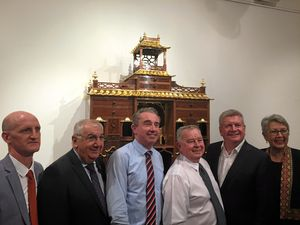 TALENTED: Geoff Hannah with Minister For The Arts Mitch Fifield, Jenny Dowell, Kevin Hogan, Thomas George and Brett Adlington at the opening and unveiling of his work at Lismore Regional Gallery.