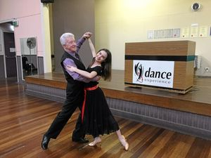Kevin Bennion has been dancing for 67 years and founded Dance Experience 60 years ago. Mr Bennion is dancing with Jane Di Bella.
