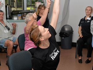 DANCE THERAPY: Ericarose Jeffrey demonstrates the moves to help suffers of Parkinson Disease at the Bundaberg YMCA Community Centre.Photo: Paul Donaldson / NewsMail