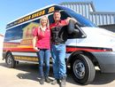 Lockyer Sheds owners Donna and Dean Heit are getting the community moving with a free minibus for use by non-profit groups.