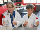 Primary students experiment in lab