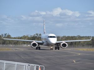 10 years of jets at Hervey Bay Airport - Virgin flight arrives from Sydney. Photo: Alistair Brightman / Fraser Coast Chronicle