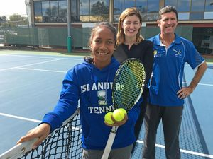 RISING STAR: Kerry Galhos with State MP Shannon Fentiman and tennis coach James Rapkins.