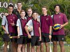 Joshua Andrew, 16, Hayden Pearce, 13, Baillie Elliott, 14, Bailey Smith, 12, Josh Ferguson, 14 and Nathan Spencer, 17 with their teacher Chris Hill at Toolooa State Highschool.