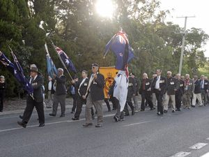 Veterans march to commemorate the Vietnam War and the Battle of Long Tan at Bribie Island on August 18.