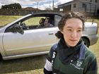 STARK STATEMENT:  St Ursula's student Sarah Quinlan found a docudrama at St Ursula's College on road safety made a graphic demonstration of potential dangers on the road. Actors John Russell and Blake La Burniy in the car. Thursday Aug 25 , 2016.