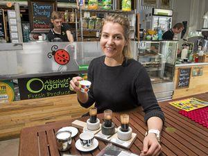 COFFEE TASTER: Homegrown Health barista Rhiannon Wieck serves up the coffee tapas.