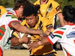UP THE MIDDLE: Gatton's Francis Han runs into the Pittsworth defence in TRL action at Pittsworth.