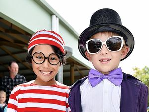 BOOK WEEK: Sandy Strait State School Year 3 students Cooper Spark as Where's Wally (left), and Connor Griffiths as Willy Wonka.