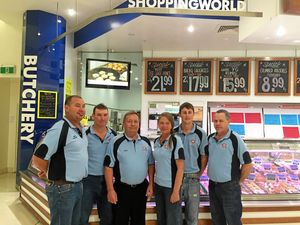 MILESTONE: Simon Cronin (manager), Brad Shannon, Simon Bartlett, Wendy Black, Steve Hayter and Jason Kroll from the Shoppingworld Butchery are celebrating 10 years in business today.