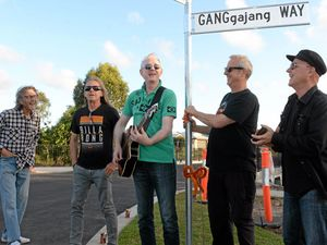 STREETWISE: The band at the opening of GANGgajang Way in Bundaberg, Queensland, last year.