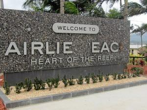 The Airlie Beach sign which was damaged.