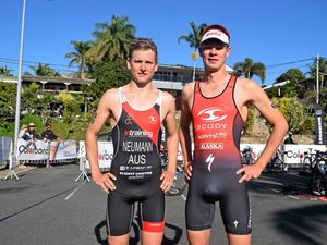 ATHLETES: Triathlon champions Max Neumann and Sam Betten competed in the Colorbond Airlie Beach Triathlon this morning. Photo Inge Hansen / Whitsunday Times.