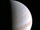 Jupiter's north polar region in an image taken by Juno spacecraft as it approached the planet. The spacecraft performed its first successful fly-by on August 27 out of 36 in total. Images from the fly-by will be much closer than this one, which was taken more than 700,000km away from Jupiter. The first fly-by passed about 4200km from Jupiter's clouds.