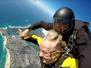 VIDEO: Great-grandma sky dives with her doctor into Kirra