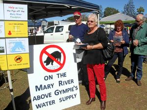 The group opposing a pig, chook and cattle farm at Kybong were at the Southside markets in Gympie on Saturday with one of the signs they have erected on the Mary Valley Hwy (from left) Michael Hall, Judy Hall, Helen Moulden and Ray Moulden.