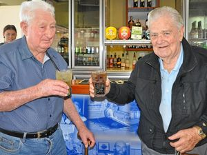 CHEERS: Roy Semple has a cool beverage with old mate Gordon Nielsen for his birthday.
