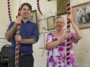 DING-DONG: Maryborough Open House chairman George Seymour with Tower Captain Ruth Anderson, ringing the bells at St Paul's.