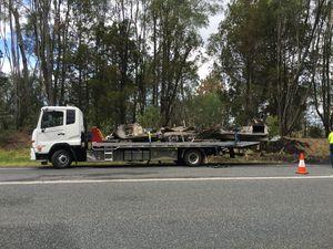 Caravan fire closes highway at Maclean