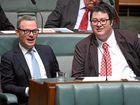 Minister for Defence Industry and Leader of the House Christopher Pyne (left) and Liberal National Member for Dawson George Christensen in the House of Representatives at Parliament House in Canberra on Wednesday.