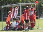 Tinana celebrates their 2-1 win, which came via a last-minute penalty.Fraser Coast League under-13s grand final: Tinana v Doon Villa.