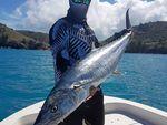 Mackay's Harley Saron shows of a mackerel caught near Bailey's Island.