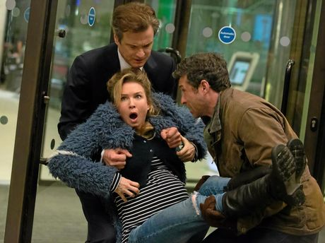Renee Zellweger, Colin Firth and Patrick Dempsey in a scene from the movie Bridget Jones's Baby.