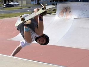 HANGING: Maclean High School Year 8 student Finn O'Neill gets vertical on the half pipe at the Yamba skate park.