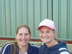 Kylie White and Steph Lockhart at junior netball this year.