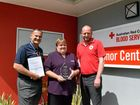 WINNERS: Adrian Pennington, Rhonda Marsden and Barry Lynch at the Bundaberg Red Cross Blood Service. Photo: Eliza Goetze / NewsMail