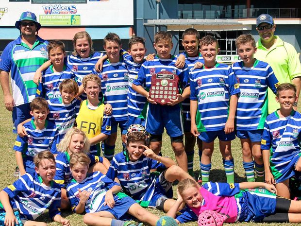 BRIGHT FUTURE: The winning U11 and U12 teams and some Cap Coast Brothers Supporters at Brown Park on Grand Final Day.