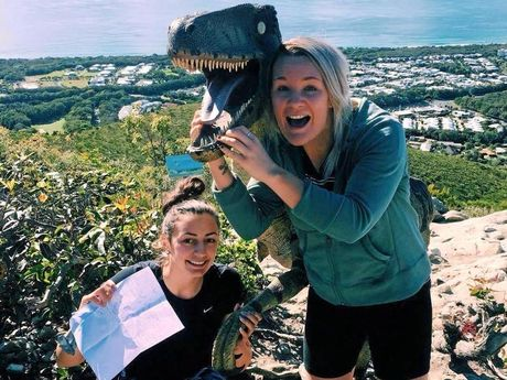 Julie, Julia and Madison found the dinosaur up on Mount Coolum.