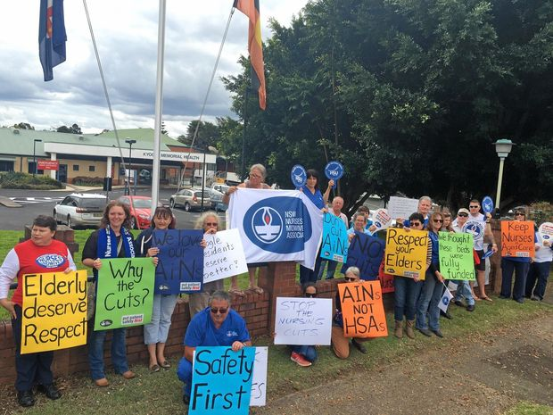 NSW Nurses and Midwives Union protest in Kyogle about staffing changes.
