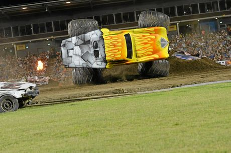 Kreg Christensen showed why he was a World Champion as he recovers the truck from this stunt during the freestyle section at the Monster Trucks Event in 2014. Photo Lee Constable / Daily Mercury