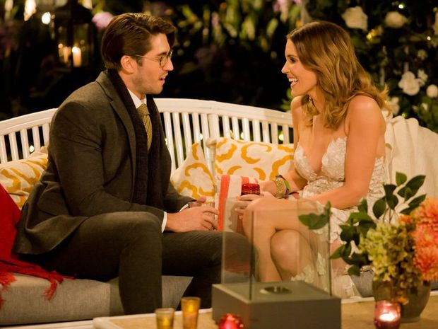 Georgia Love speaks to Rhys Chilton in a scene from the first episode of The Bachelorette.