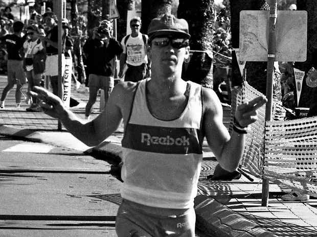 Action from the inaugural Mooloolaba Triathlon, staged on May 16, 1993.