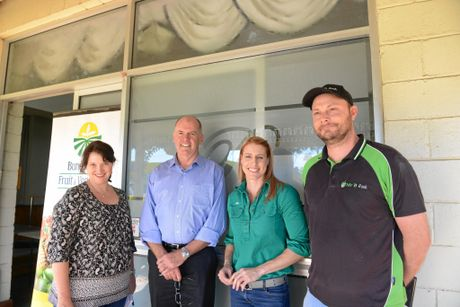 ACCC MEETING: Growcom's Rachel Mackenzie, ACCC Agriculture Commissioner Mick Keogh, Bundaberg Fruit and Vegetable Growers' Bree Grima and Ben Prichard of Mr B Fresh in Bundaberg to discuss issues with fair trading. Photo: Eliza Goetze / NewsMail