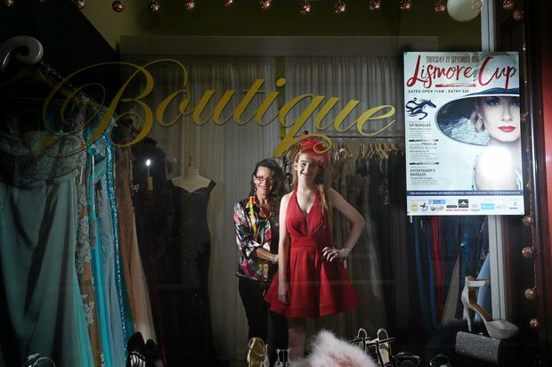 FANCY: My Tailoress designer Julia Taranto does a fitting with Symantha Butts for the Lismore Cup.
