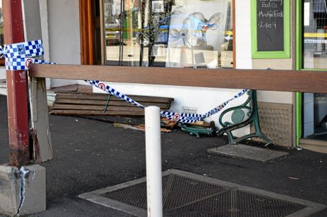 Damage shown by the car crash on Saturday night caused when an out of control ute ripped through the historic shopfronts on Bangalow's main street.