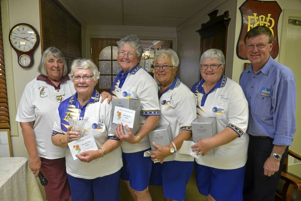 Warwick East Bowls Club ladies president Margaret Wright, Algester winners Val Ellis, Chris Pitts, Jill Ross, Nevia Braiuka and sponsor's representative Alan Olsen (Warwick Credit Union and Olsens Home Hardware) after the Rose Fiesta.