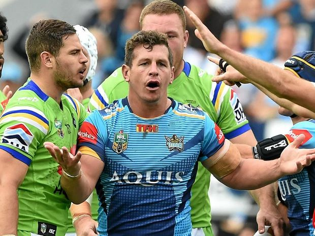 Titans player Greg Bird is sent off during the Round 16 NRL match between the Gold Coast Titans and the Canberra Raiders at CBUS Stadium on the Gold Coast, Sunday June 26, 2016. (AAP Image/Dave Hunt) NO ARCHIVING, EDITORIAL USE ONLY