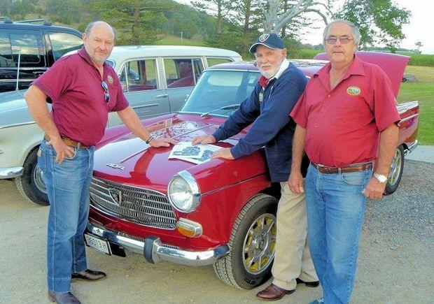 CAR LOVERS: Grafton Vintage Motor Vehicle club members John Snape, Doug Clark and Bob Gray are ready for the Maclean Swap Meet.
