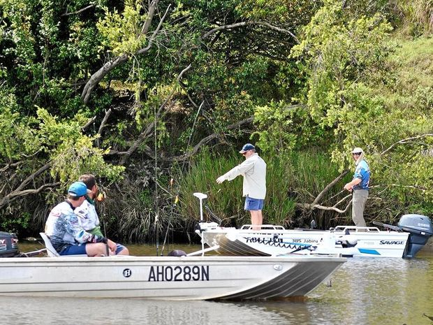 Anglers search for bass during the 2016 Hayden Grebert Memorial Bass Classic at the weekend.