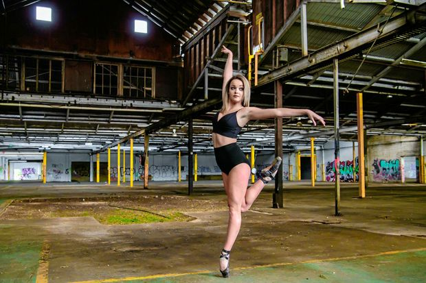 ART SPACE: International dancer Emily Rowles poses during a portrait shoot inside the former woollen mills in North Ipswich.