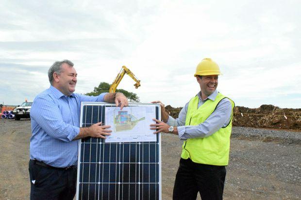 SOLAR PLAN: Jack Dempsey and Adam Wyatt at the Rubyanna Waste Water Treatment Plant site.